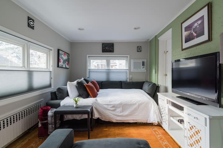 Livingroom with queen bed, TV, TV Stand and chair