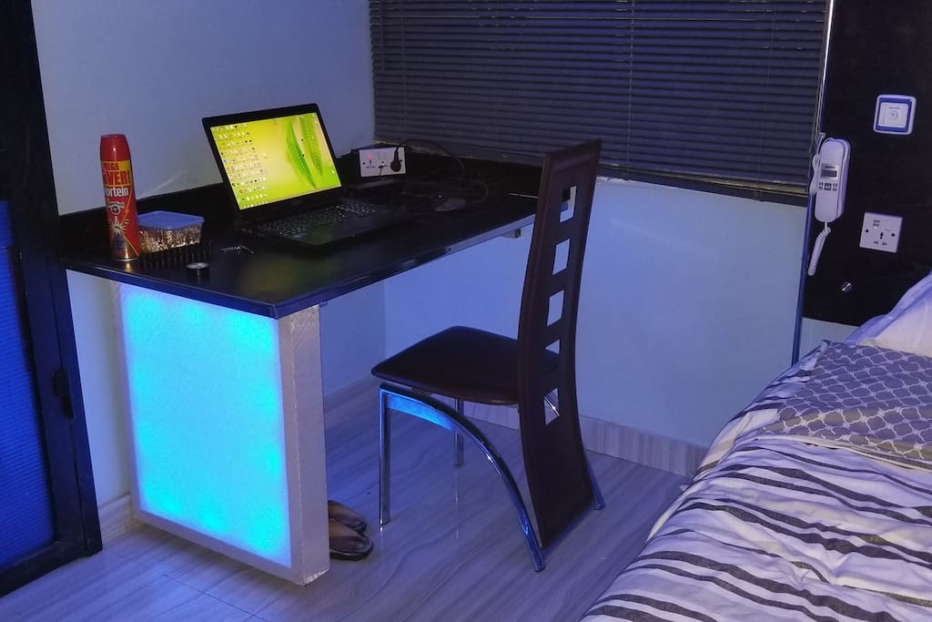 LED leg Desk/Workspace/ Dining table with 2 chairs