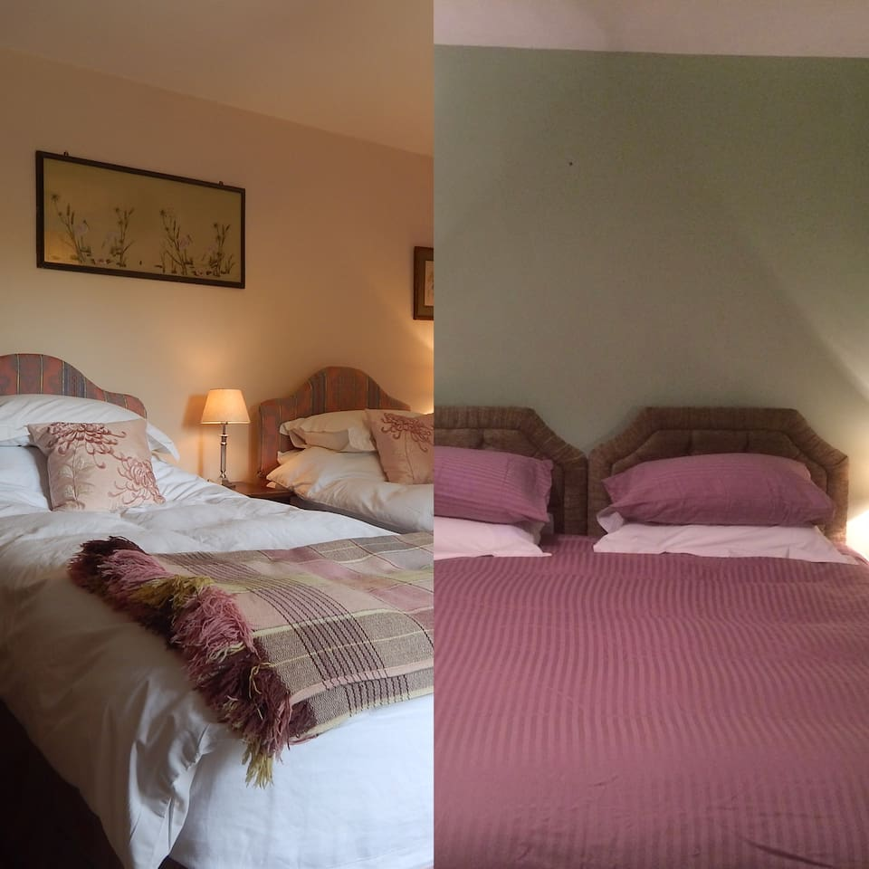 Pink twin room or Green double room