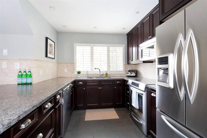 Large modern kitchen with modern appliances for easy cooking