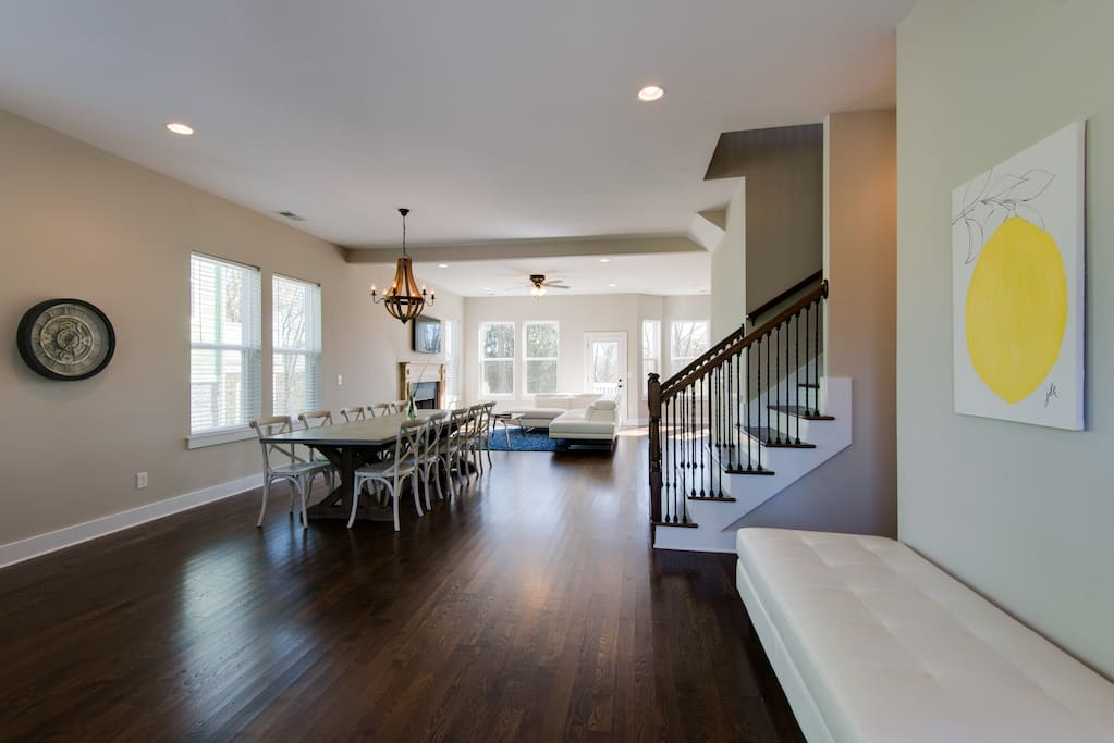 The spacious main level has convenient seating once you walk in the door.