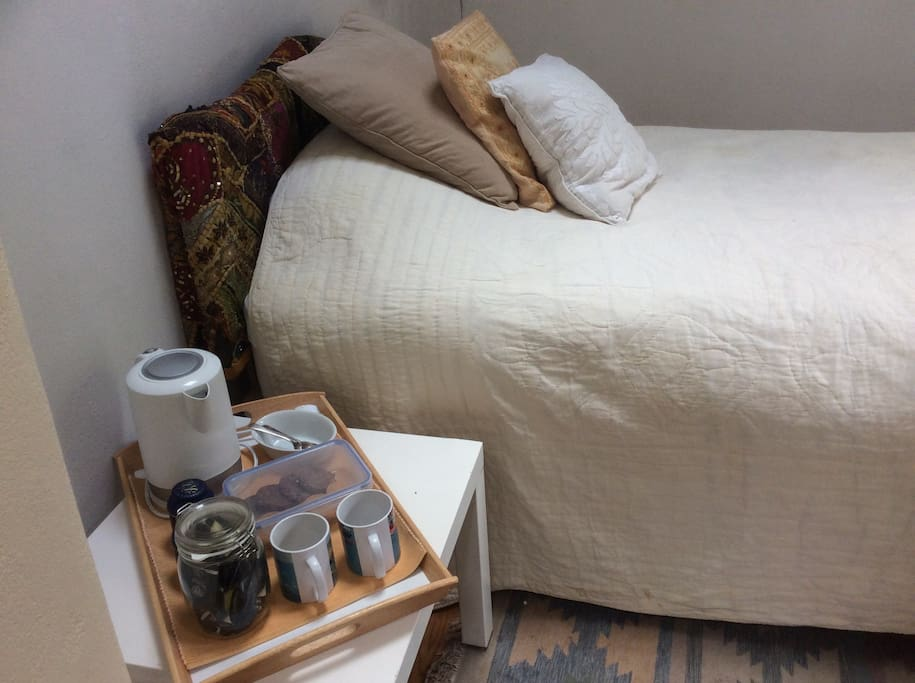 Comfy bed with memory foam mattress. Tea and coffee making facilities and biscuits (of course!)