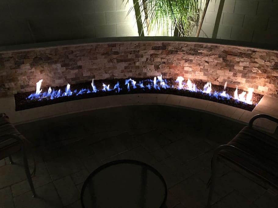Peaceful gas lit fire pit