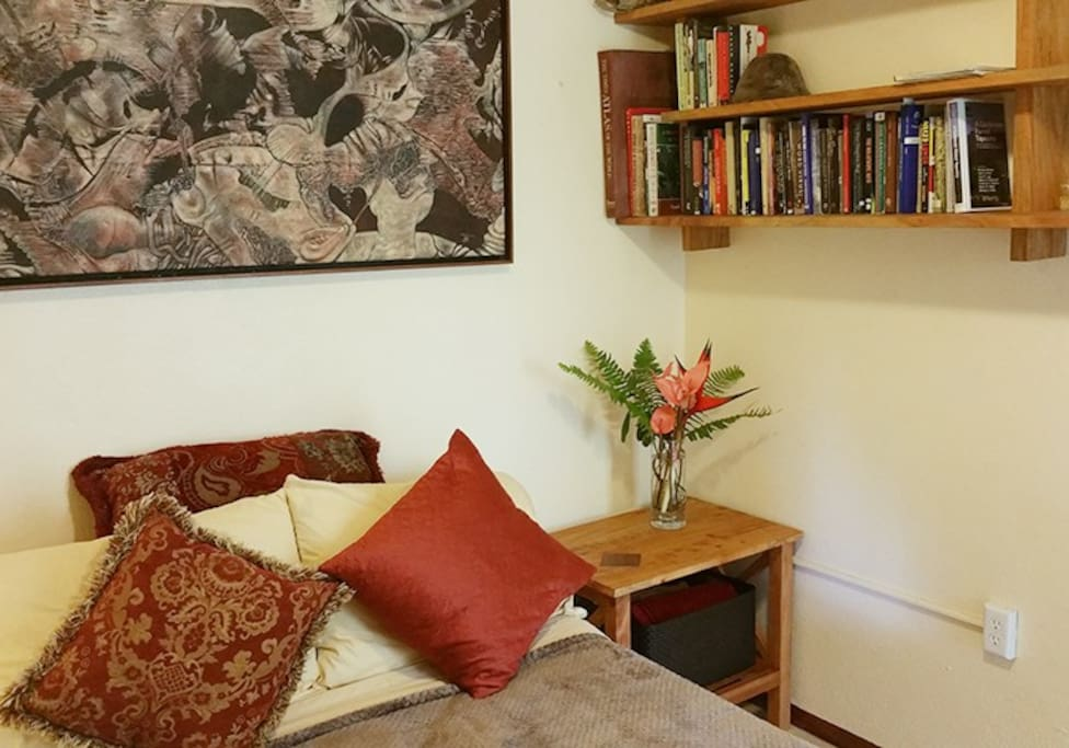 Handmade furniture and a great book collection.