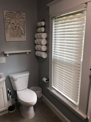 This newly remodeled bathroom includes a sink, toilet, shower/tub, hairdryer, hair straighter,  towel rack/hooks, fresh towels, hand soap, shampoo, conditioner, and body soap for your stay.