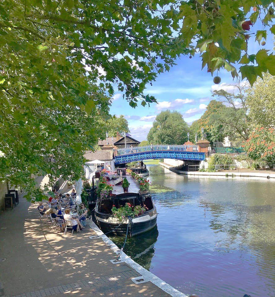 Right outside the front door.  The Canal Cafe boat is perfect for a quick drink or a leisurely meal.
