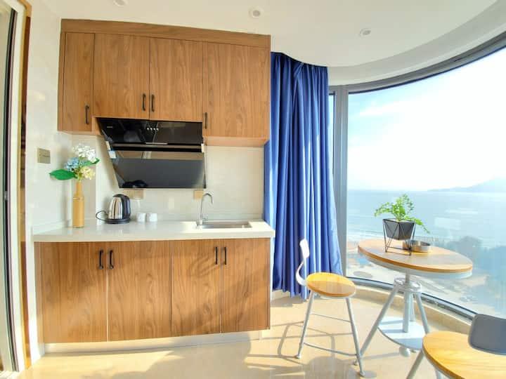 东山岛、海景落地窗、日落大床房