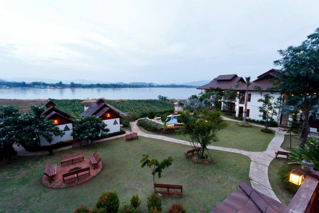 Located on the Mekong River Bank