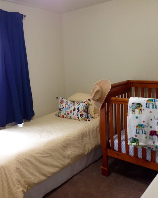 Twin bed and crib
