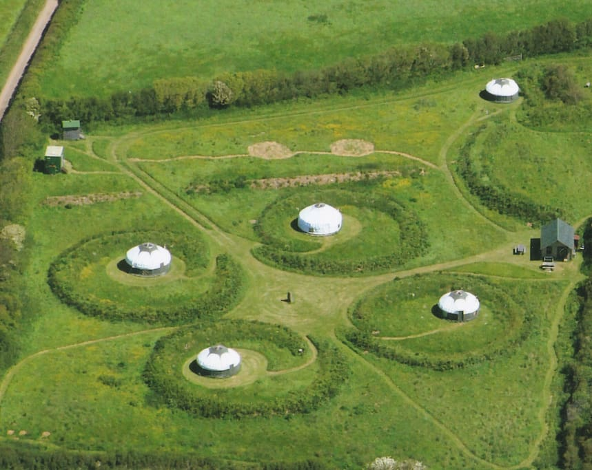 The High Nature yurt camp from above - www.high-nature.co.uk