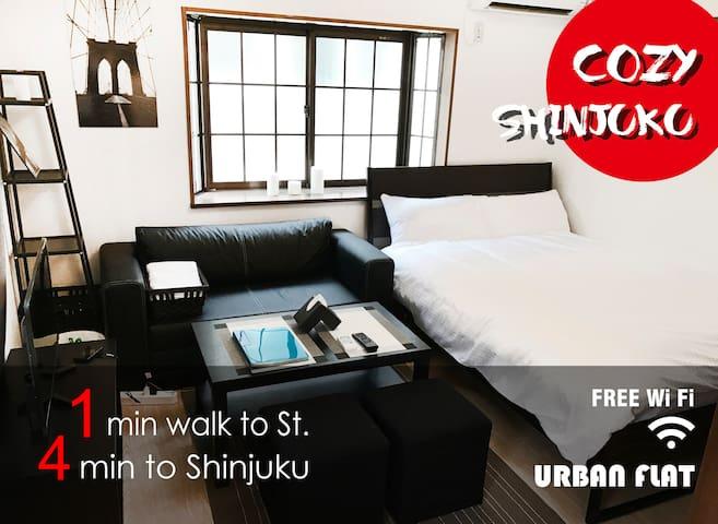 Cozy Shinjuku Urban Flat 201. 2mins walk to st.