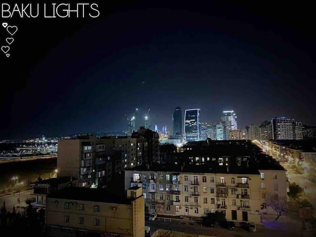 Great looking Baku night from the hall  Прекрасно выглядящая бакинская ночь из зала