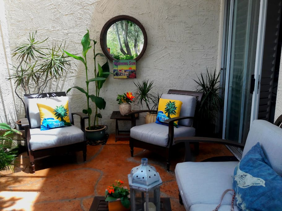 One of two patios.