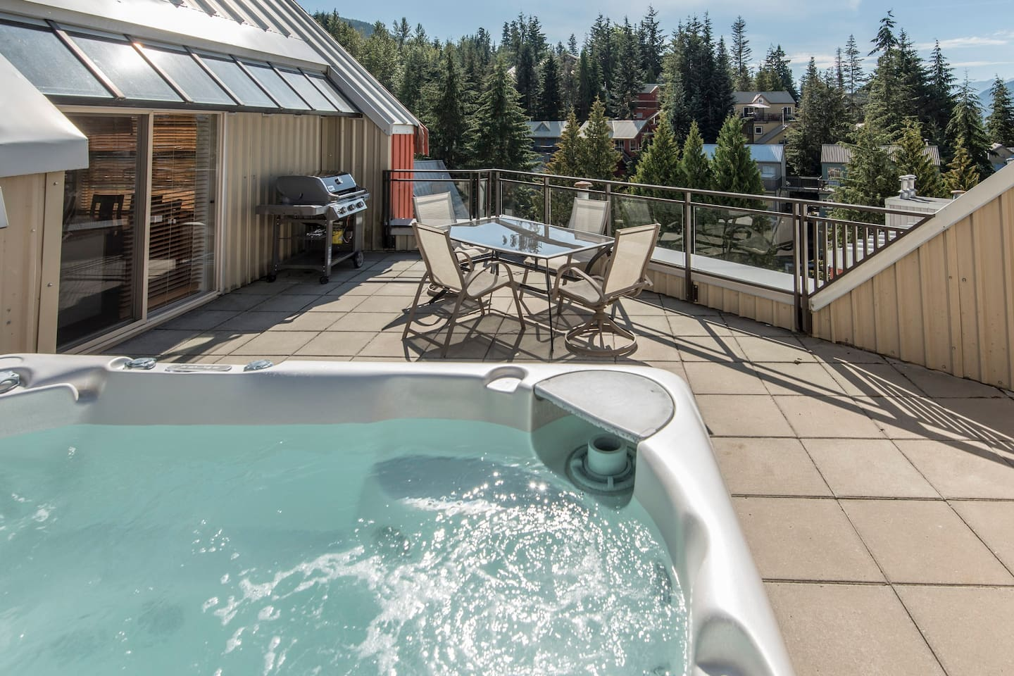 Private Hot Tub on Deck with Outdoor Dining Area