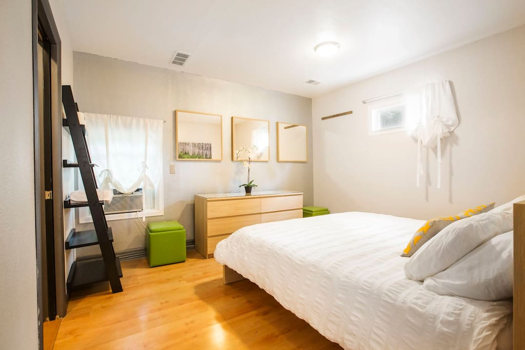 King size bed and private bathroom