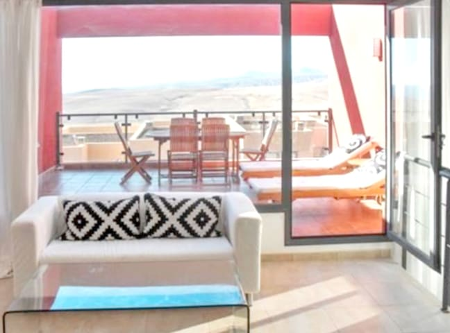 House with 3 bedrooms in Antigua, with wonderful sea view, shared pool, furnished terrace - 3 km from the beach