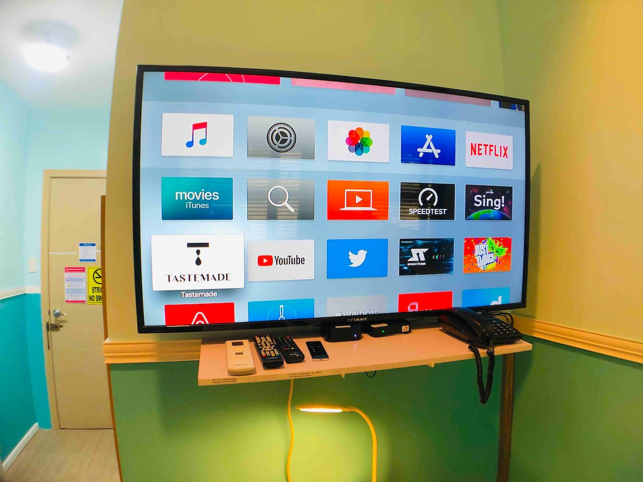 50-inch LED TV with Apple TV. Active subscriptios to Netflix, Fox+, Just Dance, Amazon Movies. Youtube. And a lot of new movies on Apple Movies. ABS-CBN TV plus for local channels.
