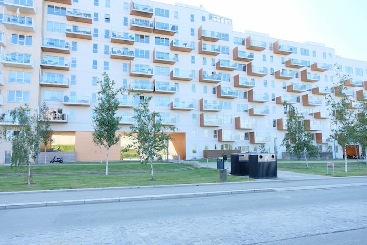 Spacious and modern newly built 3 bedroom apartment at Else Alfelts Vej on the ground floor located in Copenhagens popular area Ørestad on Amager.
