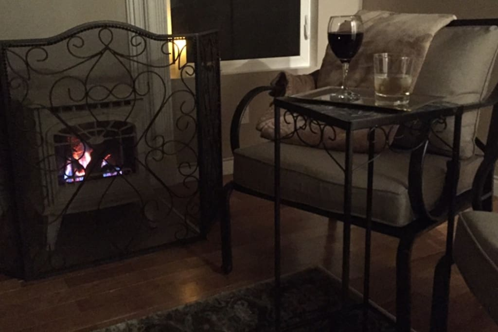 Enjoy an effortless evening in beside our toasty gas fireplace while watching the snow fall on the dormant garden