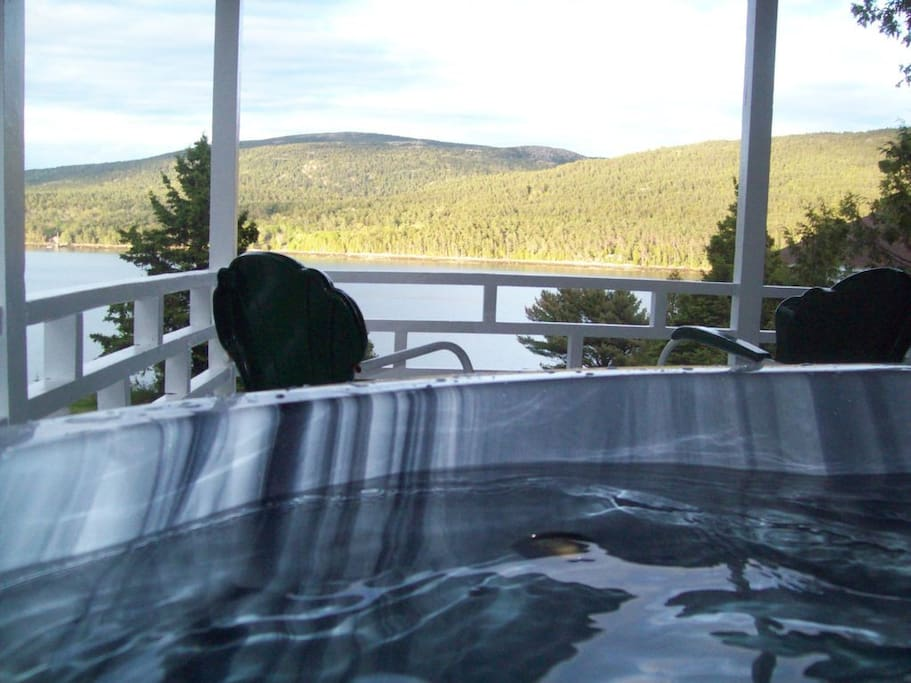 Hot Tub on Covered Porch Overlooking Somes Sound