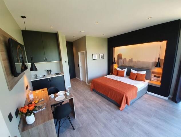 JustStay Hotel Düsseldorf/Solingen Apartment Küche