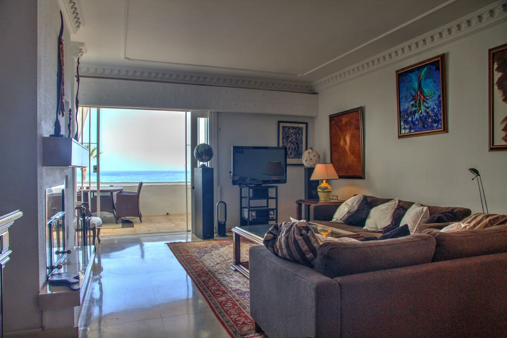 Large living room with great sea views