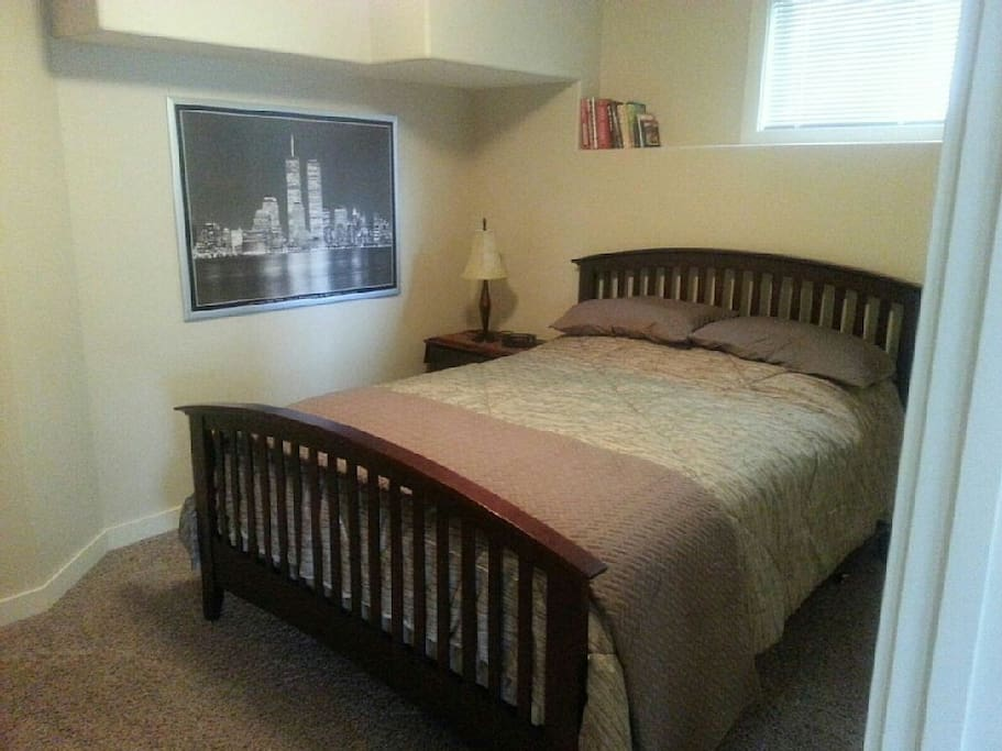 Master Bedroom has a queen sized bed with linens and large closet.