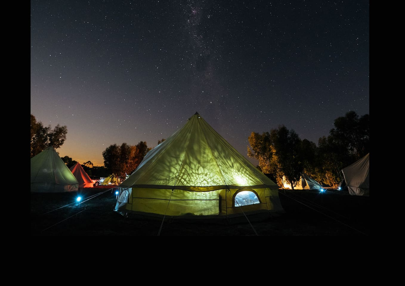 The Bell Tent at night, Glamping!