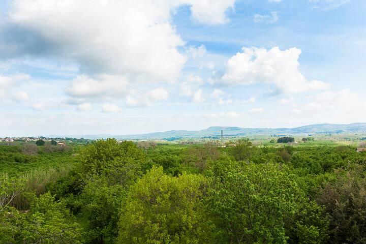 Il panorama dalla terrazza delle Caiole