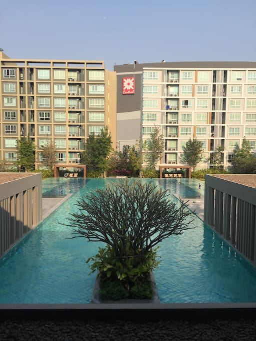 The swimming pool in condominium.