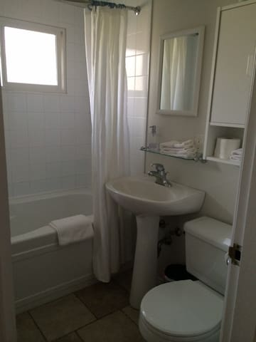 Newer bathroom. All white! Clean & fresh!