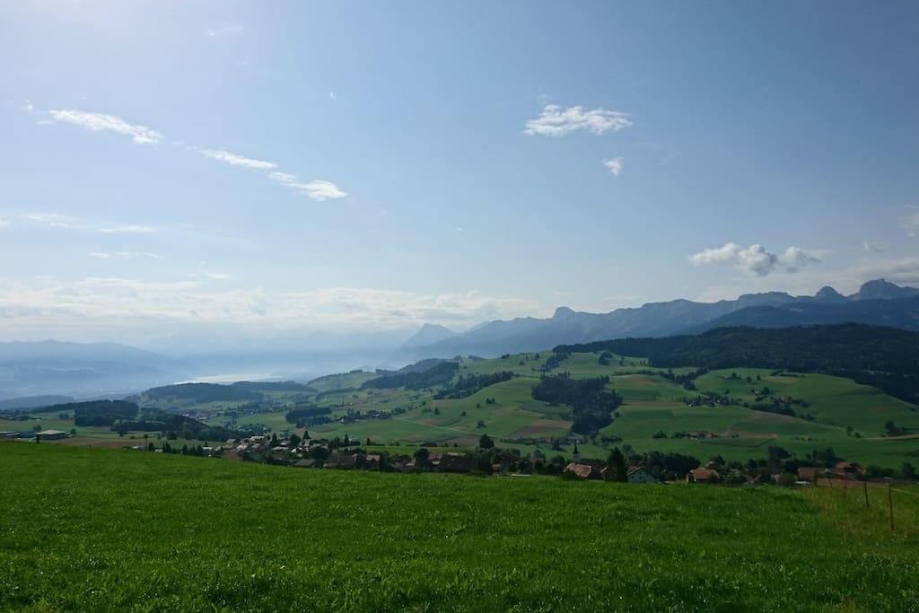 The view from the Fultigenegg over Rüeggisberg.