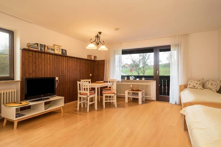 """Cosy Apartment """"Ferienwohnung Achraintal 3"""" in Rural Area with Wi-Fi & Balcony; Parking Available, Pets Allowed"""