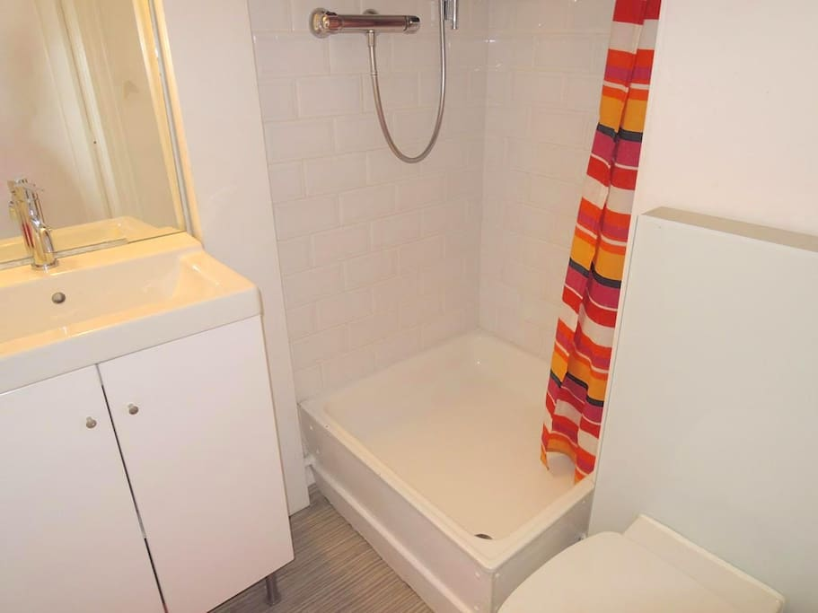 Bathroom is small but clean, (with a rainshower), and is renovated last year.