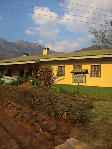 Lodge at the base of the Mulanje Mountains
