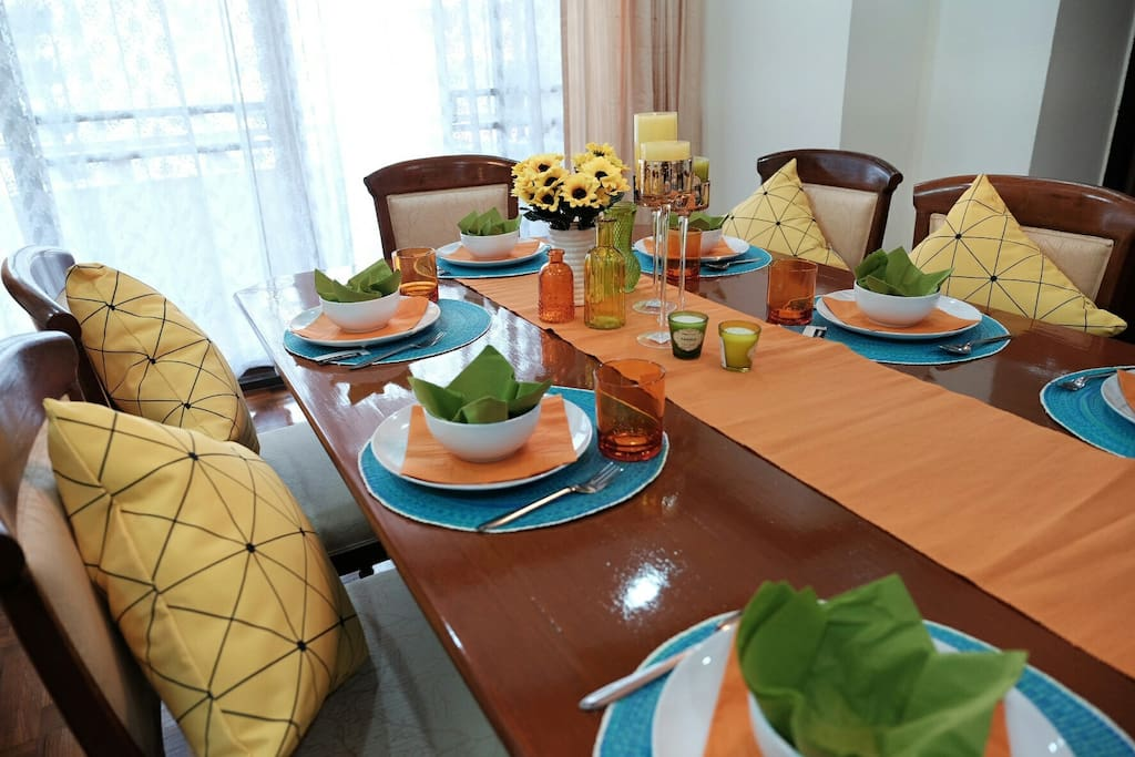 Dining table with all table ware