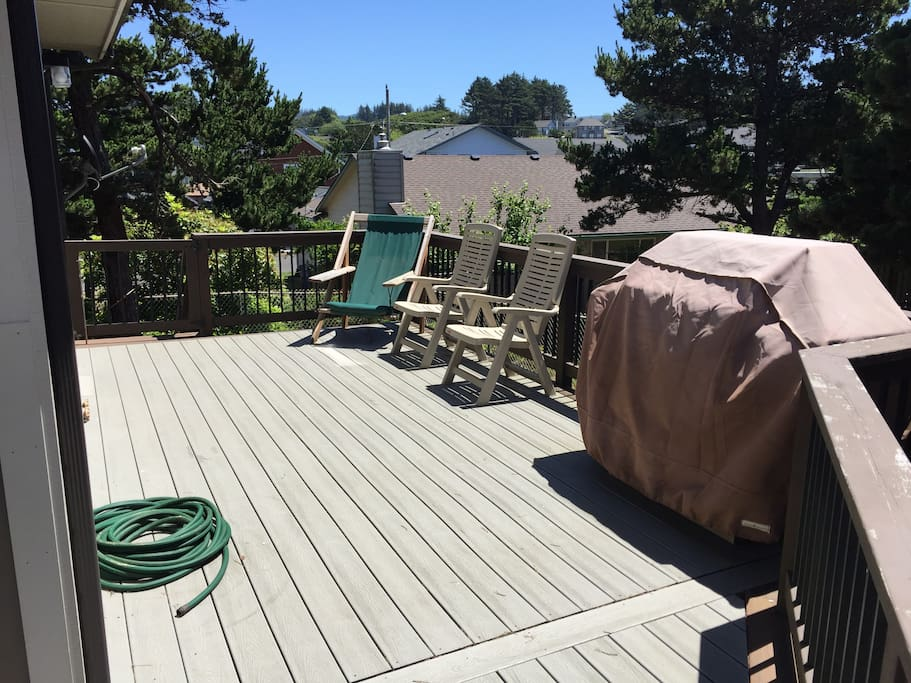 Deck on South Side of House - hot & cold water for sandy toes
