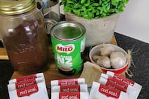 Good coffee, NZ milo (a must try kiwi experience, herbal teas and homegrown garlic.