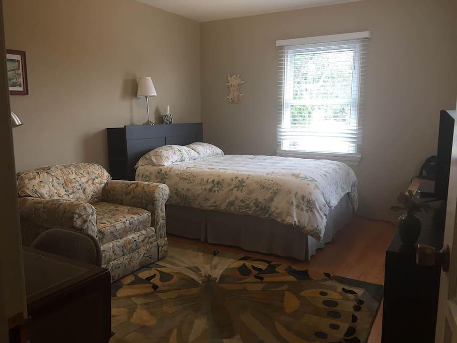 Bedroom with Oak Tree Outside