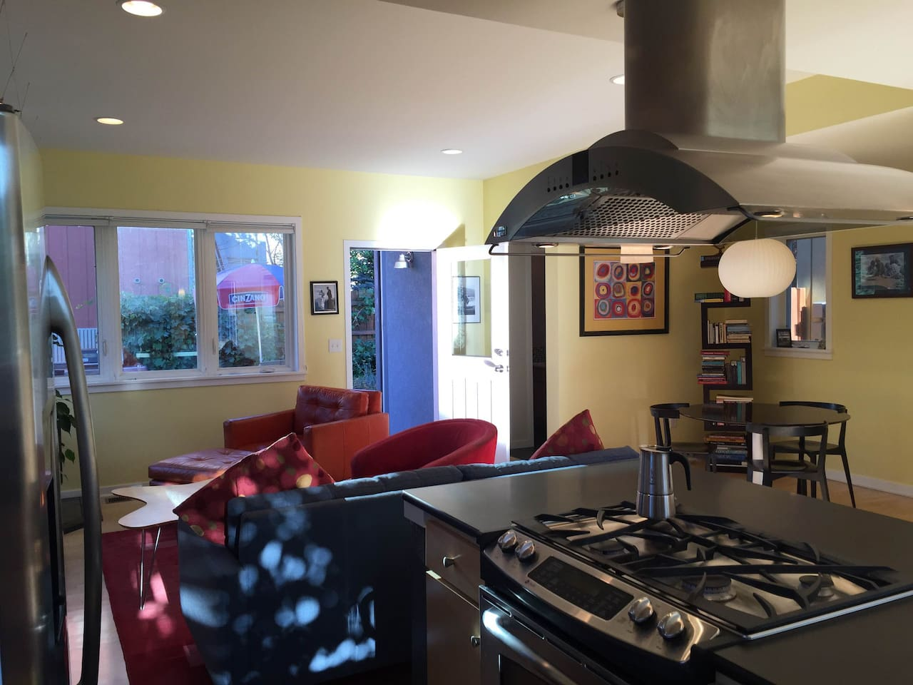 Our beautiful, open kitchen and adjacent living room.