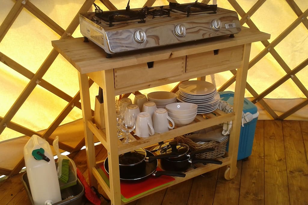 Cooking facilities in the Yurt