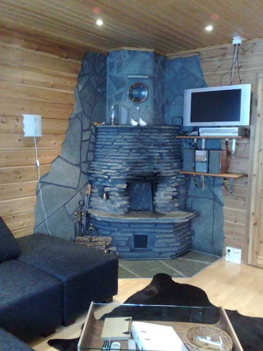 Fireplace which is made of natural stone