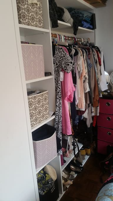 The built in cubbies, closet, and shoe rack.