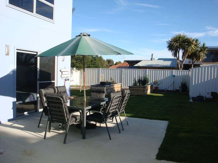 Private outdoor area and back yard