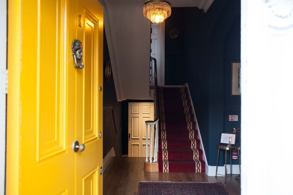Entrance to our apartment is through the beautifully restored period hallway. Our apartment is on the lower ground floor.