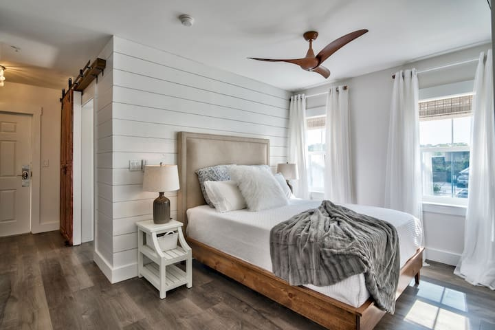 European bedroom with extra comfy queen bed