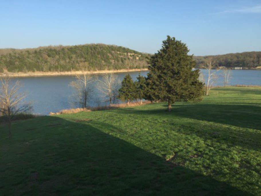 View of lake from the backyard.