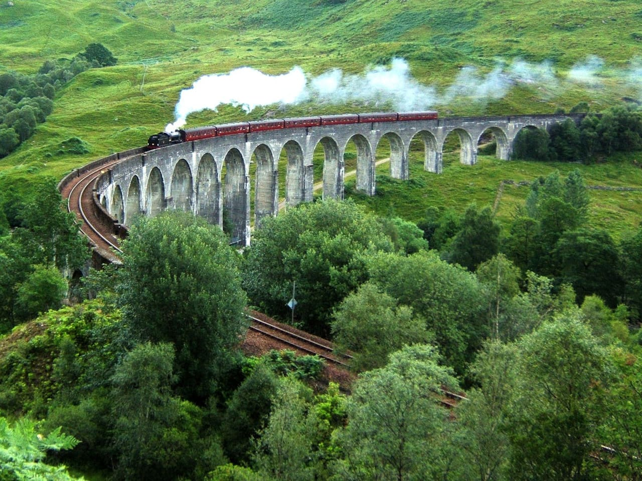 Jacobite Steam Train going over Glenfinnan Viaduct, 25 minutes drive from the apartment.