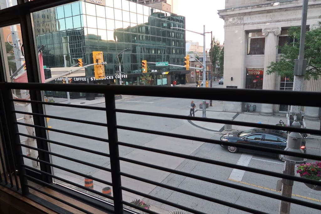 overlooking the hustle and bustle of downtown Windsor