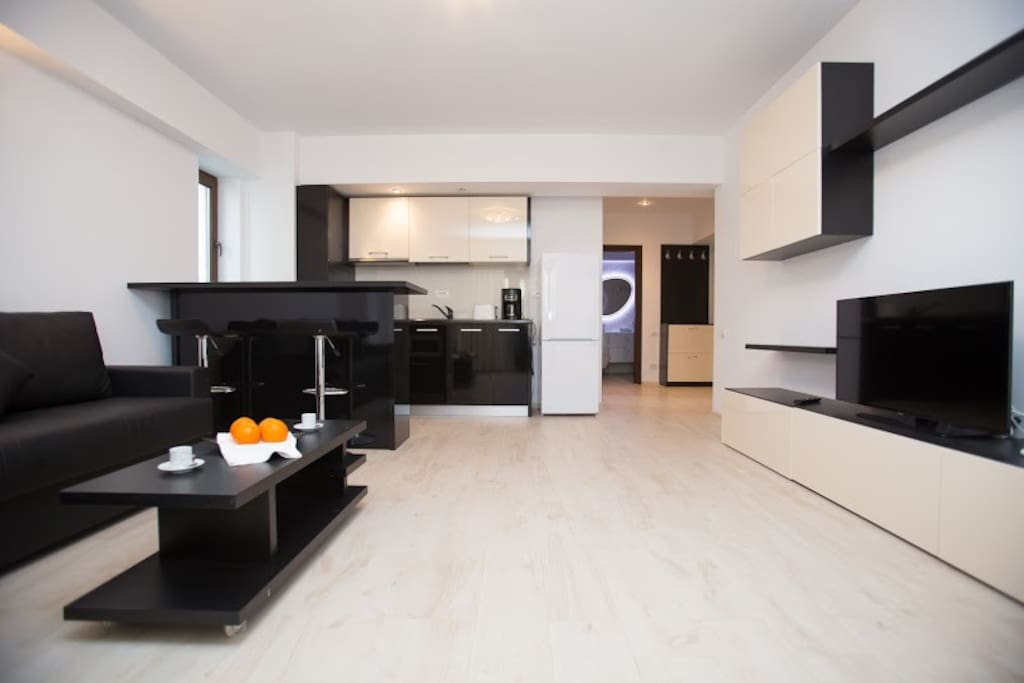 The apartment is perfect choice for families with kids because the kitchen is fully furnished and equipped.